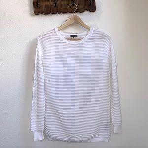 Vince Camuto   White Semi-Sheer Striped Sweater